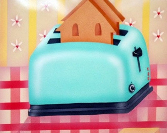 HOUSE WARMING Framed Art Print | Kitchen Wall Art | Colorful Kitchen Painting | Happy Toaster Print | Art for Kitchen |Valerie Walsh | 12x12