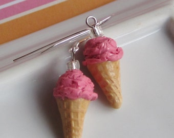 Hot Pink Bubblegum Ice Cream Cone Earrings