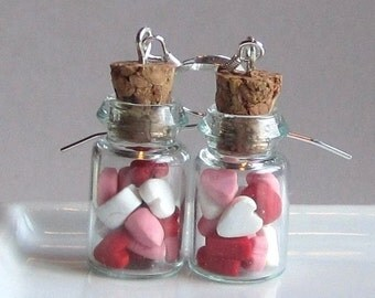Valentine Candy Jar Earrings with Red, White and Pink Hearts