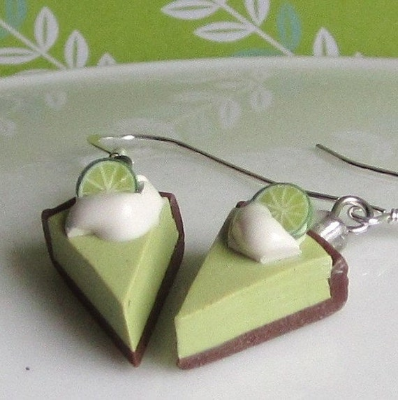 Key Lime Pie Earrings - Faux Food Polymer Clay Earrings
