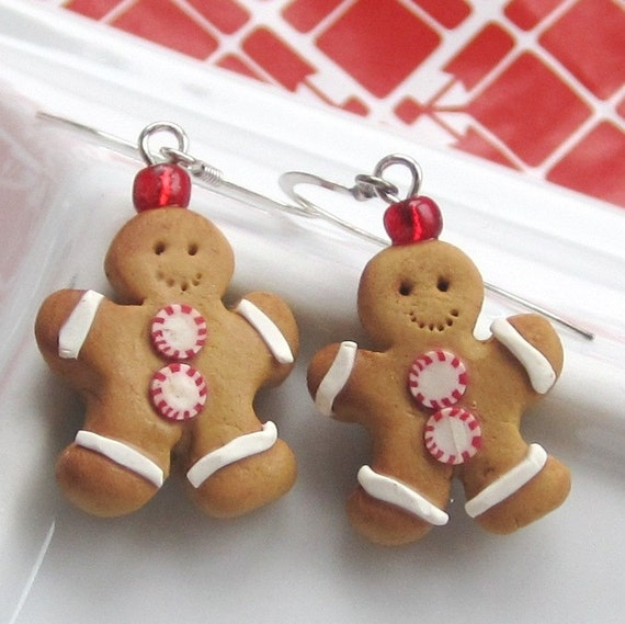 Gingerbread Man Cookie Earrings - Christmas Earrings
