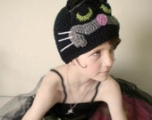 Crochet Animal Hat - Retro Cartoon 3-D Cat Hat in Black and Gray with Ears - Unique Hat for Baby / Toddler / Boy / Girl / Man / Woman