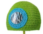 Crochet Hat - Beanie in Chartreuse Green and Peacock Blue with Design of Your Choice- Hat for Baby / Toddler / Boy / Girl / Man / Woman