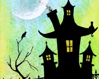 Dreamers Hideaway - Signed Print - Whimsical Spooky Halloween House - Various Sizes