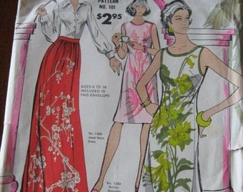 Vintage 60s Alfred Shaheen Shift, Dress and Skirt Pattern sz 6 thru 18 UNCUT