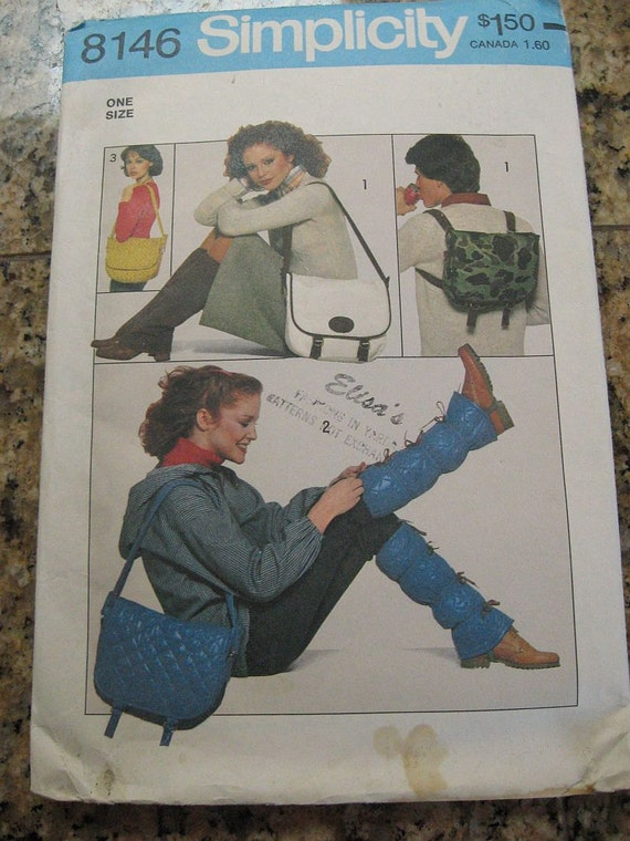 Vintage 70s Simplicity 8146 Assorted Purse Toes and Leg Warmers Pattern One Size