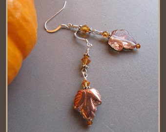 Pressed Glass Fall Thanksgiving Autumn Leaves Earrings by Cornerstoregoddess