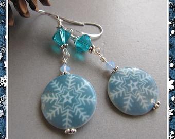 Cornerstoregoddess Mother of Pearl Winter Snowflake Earrings