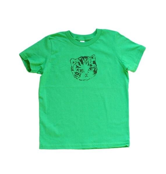 SALE - grass green kitty tee - kids size 6