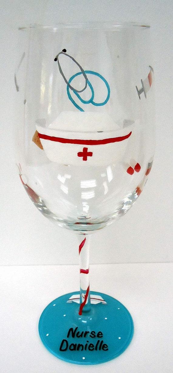 NURSE WINE GLASS - hand painted wine glass - personalized wine glass