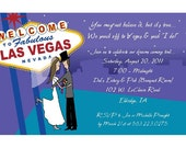 Las Vegas Wedding Invitations - Reception, Rehearsal Dinner, More - You Pick Blue or Purple Background