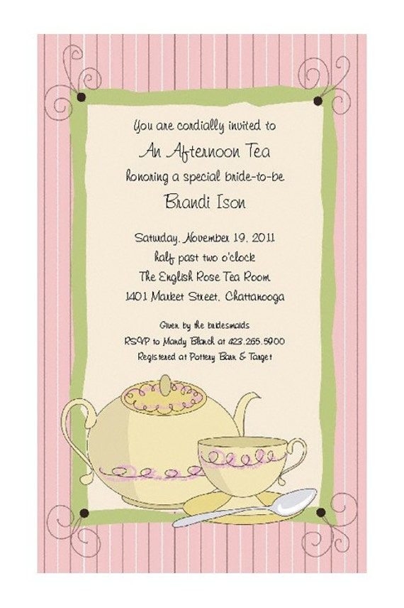 Items similar to Tea Party Invitations for Bridal Shower Birthday – Ladies Tea Party Invitations