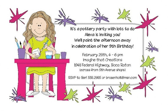 Items similar to Girls Pottery Painting Art Theme Invitations – Painting Birthday Invitations