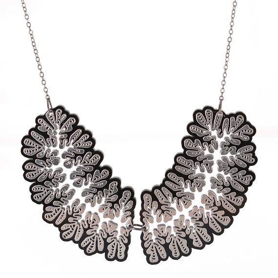 Nudibranch Necklace - stainless steel and black acrylic necklace
