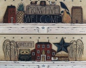 vintage inspired Primitive Still Life. Choose Simplify -or- A Primitive Welcome. Country folk art prints by Donna Atkins