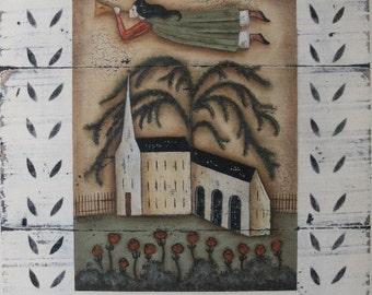 PRAISE, a rustic folk art angel & church print signed by Donna Atkins