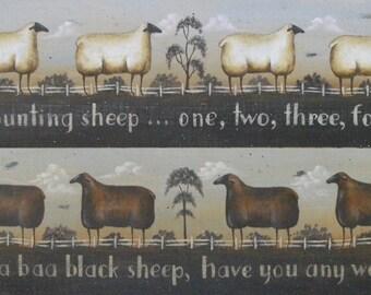 Baa Baa Black Sheep or Counting Sheep. New England style primitive folk art print by Donna Atkins