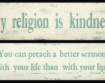 Inspirational Religion, Kindness, Life, Living Quotation Word Art Prints by Donna Atkins. Dalai Lama or Oliver Goldsmith. Turquoise & white.