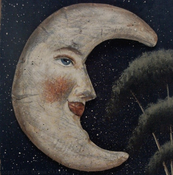I See The Moon and the Moon Sees Me, God Bless the Moon... A folk art saltbox print. Donna Atkins