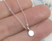 Very Tiny Coin Necklace Sterling Silver Charm Chain Minimalist DJStrang
