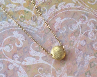 Tiny Gold Sun Necklace Hollow Formed Coin Disc Moon Charm Chain DJStrang Minimalist Bead Brushed Finish