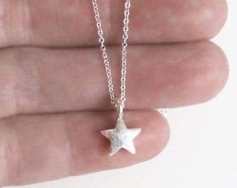 Tiny Sterling Silver Star Necklace Charm Chain DJStrang Boho Minimalist Hammered