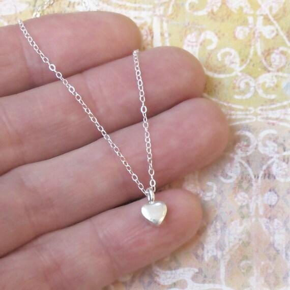 Very Tiny Silver Heart NecklaceCharm Chain DJStrang Minimalist Love Sweetheart Valentine