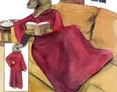 "DINOSNUG (Tyrannosaurus Rex Dinosaur Reading Book in SNUGHEE (C) ) 8 .5 x 11"" print by Ray Young Chu"