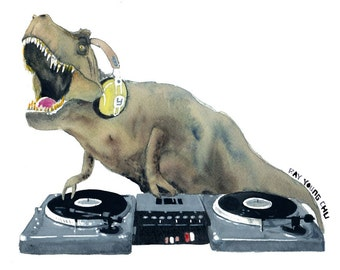 DJ Rexcut Art Print Ray Young Chu- dinosaur workaholics raptor dino art fossil reptile cool hip hop rap old school scratch rane technic 1200