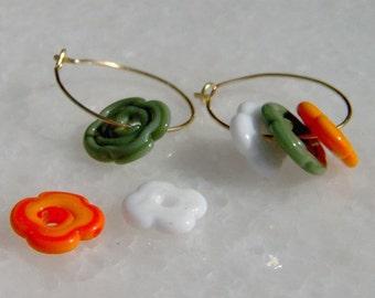 Lampwork Earrings Flowers, Gold Filled, Handmade Orange Green White SRA LETEAM Glassymom