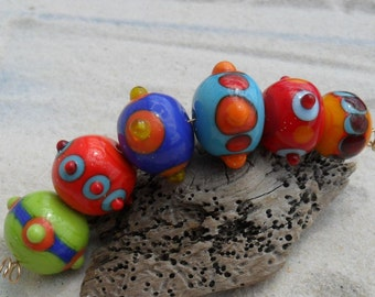 Lampwork Hollow Glass Beads Green Blue Red Yellow Turquoise, Artisan Handmade SRA LETEAM Glassymom