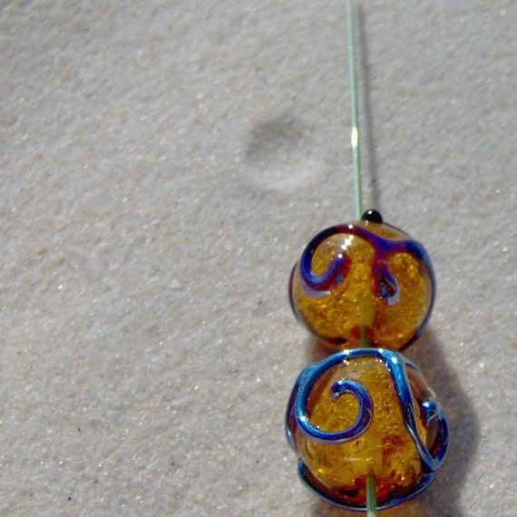 Lampwork Bead Rounds Topaz and Silver Glass Scrolls Pair, Handmade SRA LETEAM Glassymom