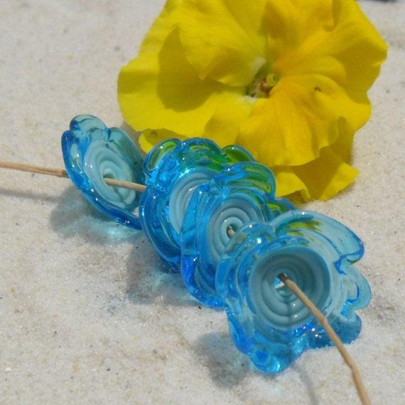 Lampwork Flower Disks, Turquoise- Aqua Artisan Handmade Disks, SRA LETEAM Glassymom