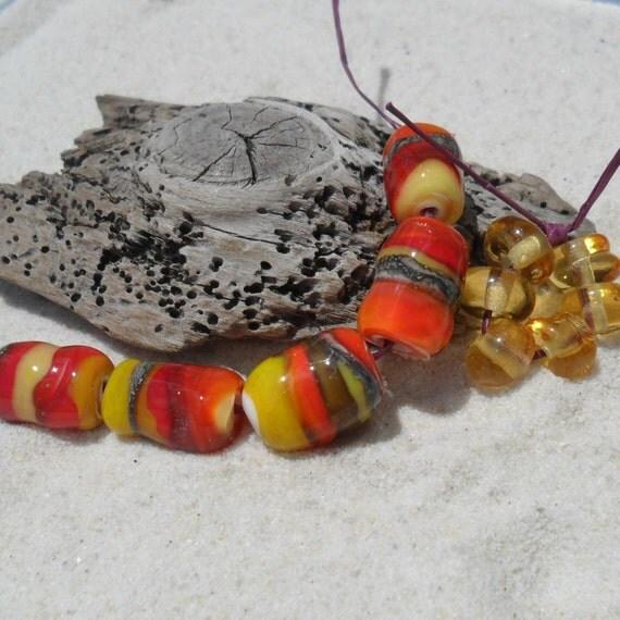 Lampwork Beads Set,  Orange-Yellow-Red-Goldstone  Handmade SRA LETEAM  Destash