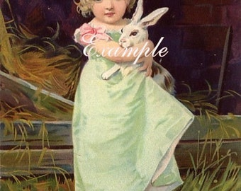 Easter little girl holding rabbit.Instant Digital Download,Use for greeting  cards,place cards, altered art,sewing,framing,tags and more