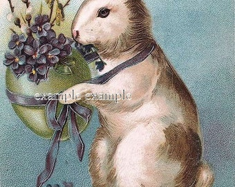 Digital download,Easter Rabbit holds bouquet of violets,great for cards, decoupage, collage,sewing