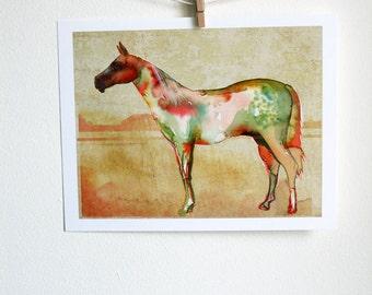 Watercolor Horse Art Print - watercolor painting, nature, horse art, primitive