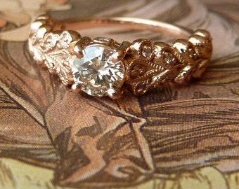 Rose Gold Vintage Petal Diamond Ring