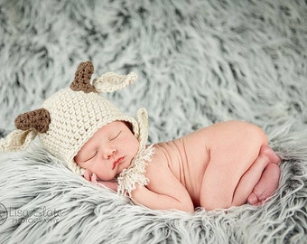 newborn baby boy goat hat photography prop baby billy goat