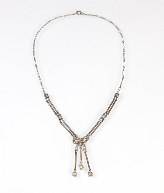 1930s Art Deco Sterling Silver Bow Paste Rhinestone Necklace