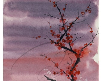 Memory's Legacy - Watercolor Art Print Cherry Blossoms Red Tree Blossom Sky Landscape Painting Available in Paper and Canvas by Olga Cuttell