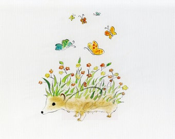 Hedgehog Garden - Watercolor Art Giclee Print Butterfly Garden on Hedgehog's Back Available in Paper and Canvas by Olga Cuttell
