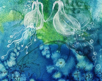 Sisters - Watercolor Art Print Painting Ocean Jellyfish Water Fairy Girls Fantasy Home cute gift Available in Paper & Canvas By Olga Cuttell
