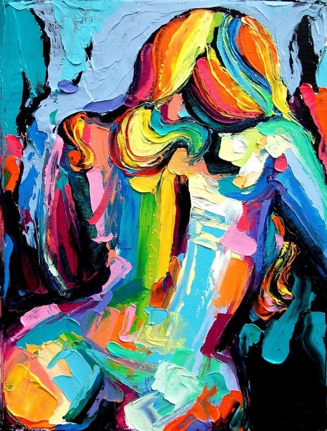 Abstract Nude print colorful art by Aja Wanderlust 9x12