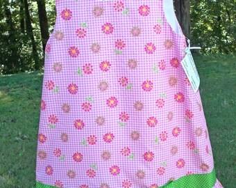 Girls A-Line Dress Pink Gingham Check & Floral - Size 4T - Etsykids