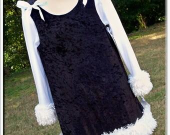 CLEARANCE SALE Black Velvet & Fur Trimmed Jumper Dress - Custom Size 3/4 - for Etsykids