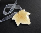 White and Gold ivy leaf pendant with white organza adjustable necklace