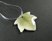 White and Green ivy leaf pendant with white organza adjustable necklace