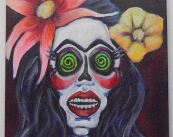 Happy Calavera Girl Skeleton Flowers in Hair Original Day of the Dead Acrylic Painting