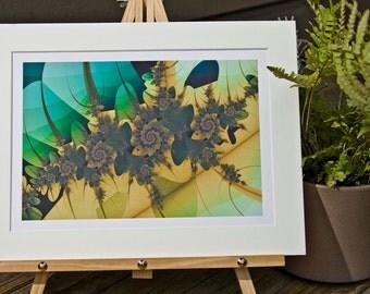Gold Rose 3, Matted Fractal Print